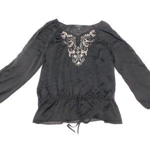 White House Black Market XL Black Blouse  Polyeste